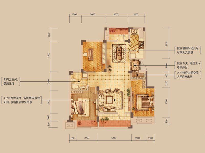 设计师以娴熟的设计手法来表达优雅的涵义,客厅大块的色彩材质运用搭配型体的比例.局部的细节美化,毫不含糊地表现,通过色彩的冷与暖,线条与块面,坚硬与柔和之间的对比来显得空间的典雅和自由并存.多功能房运用带装饰图案点缀的清玻璃幕墙来区分区域,一种整洁明亮的空间感觉.卧室的空间即用不同色彩来做诠释…