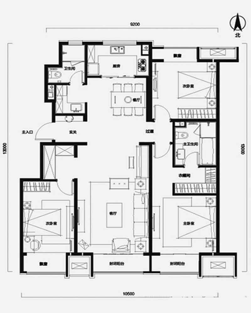 中粮万科长阳半岛-现代简约-三居室-装修案例设计说明