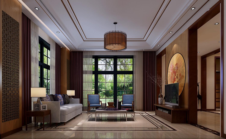 厅里摆西式风格的沙发,电视背景墙上与沙发背景墙上对称挂一幅中国山水画等
