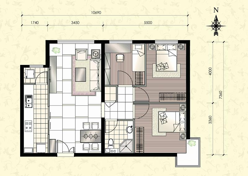 半包4万装小户型三居室 5套高清装修效果图