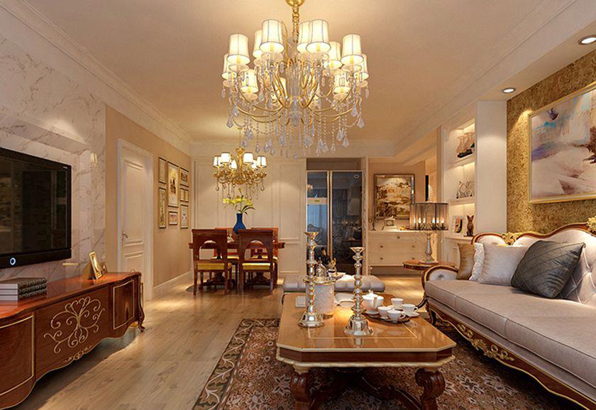 搭配了深色系列的电视柜以及各种配饰,更加体现了和谐大气,彰显整个客厅的视觉焦点。