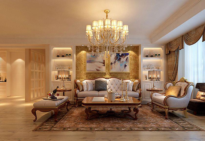 沙发背景墙以传统对称的形式,彰显其庄重,白色精美的储物柜加上嵌入的沙发