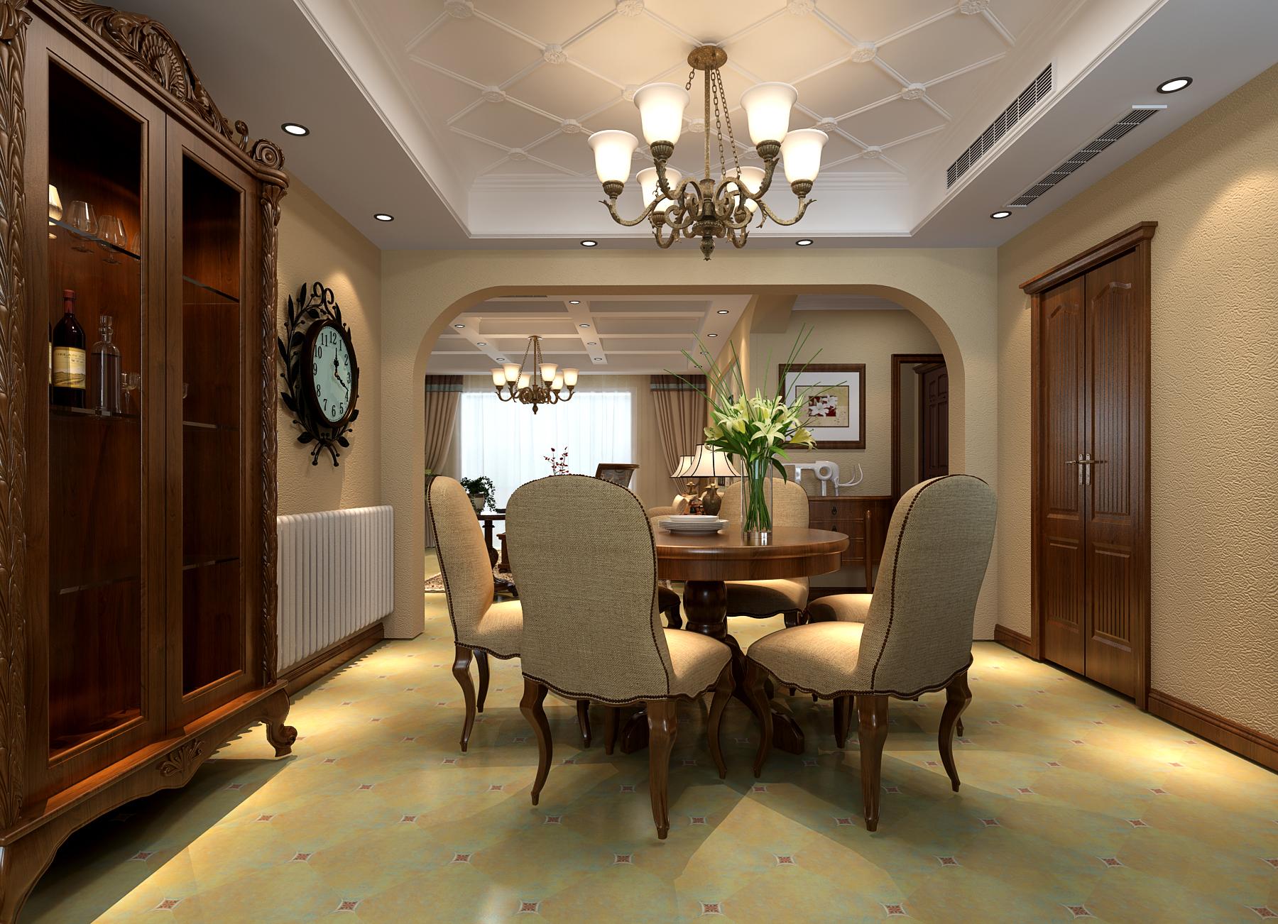 餐厅地面采用的是仿古砖,表现出粗犷、未经加工、或二次做旧的质感和年代感,搭配美缝剂和艺术拼花,从细节处凸显出客餐厅的古典美