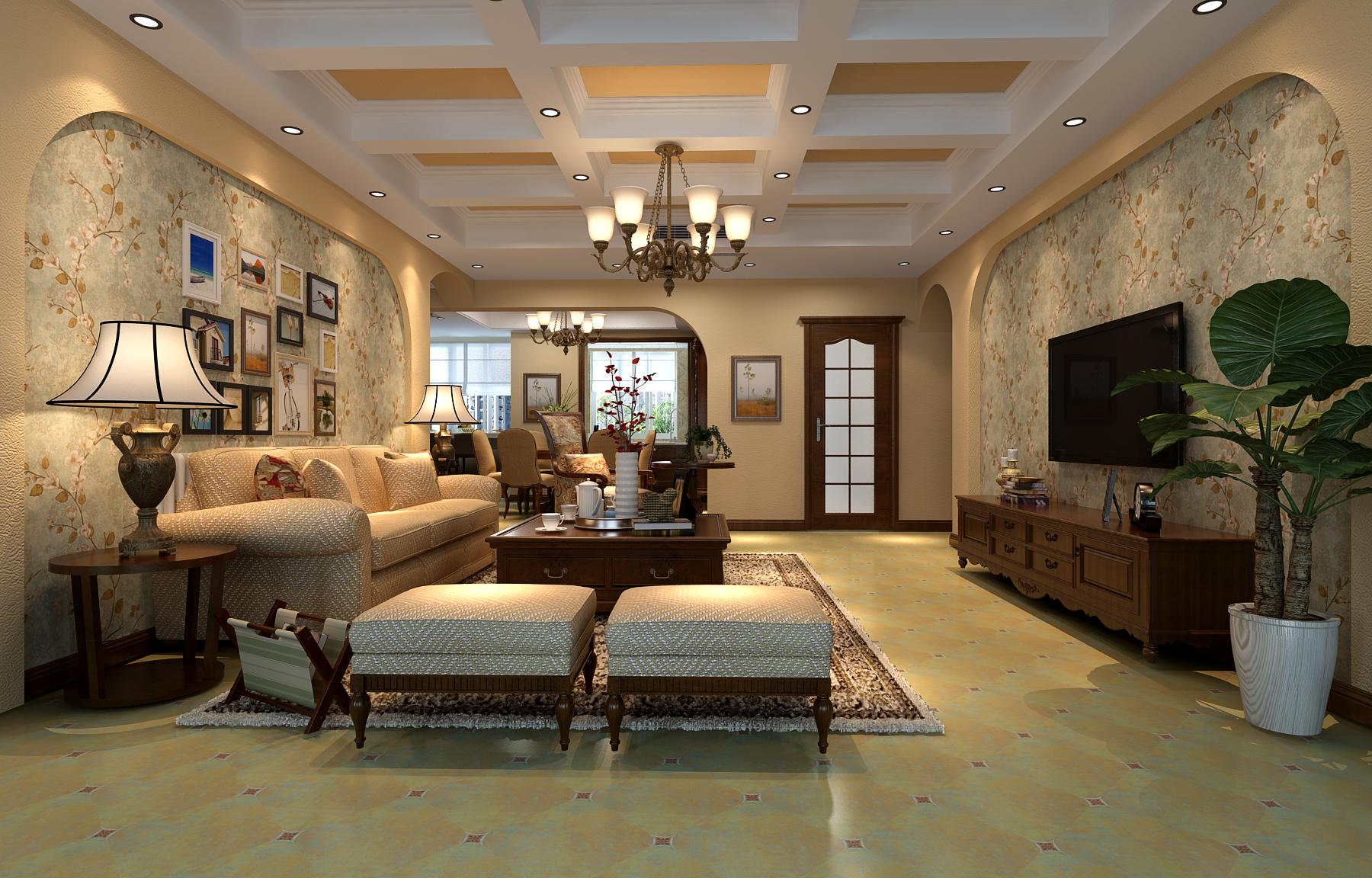 客厅背景选用手绘,既表现了生动画面,又注重了绿色环保。窗帘也选用柔和色彩。营造温馨的古典气质。摒弃了欧式的富丽堂皇的气质,转而更注重家居整体的实用和协调。