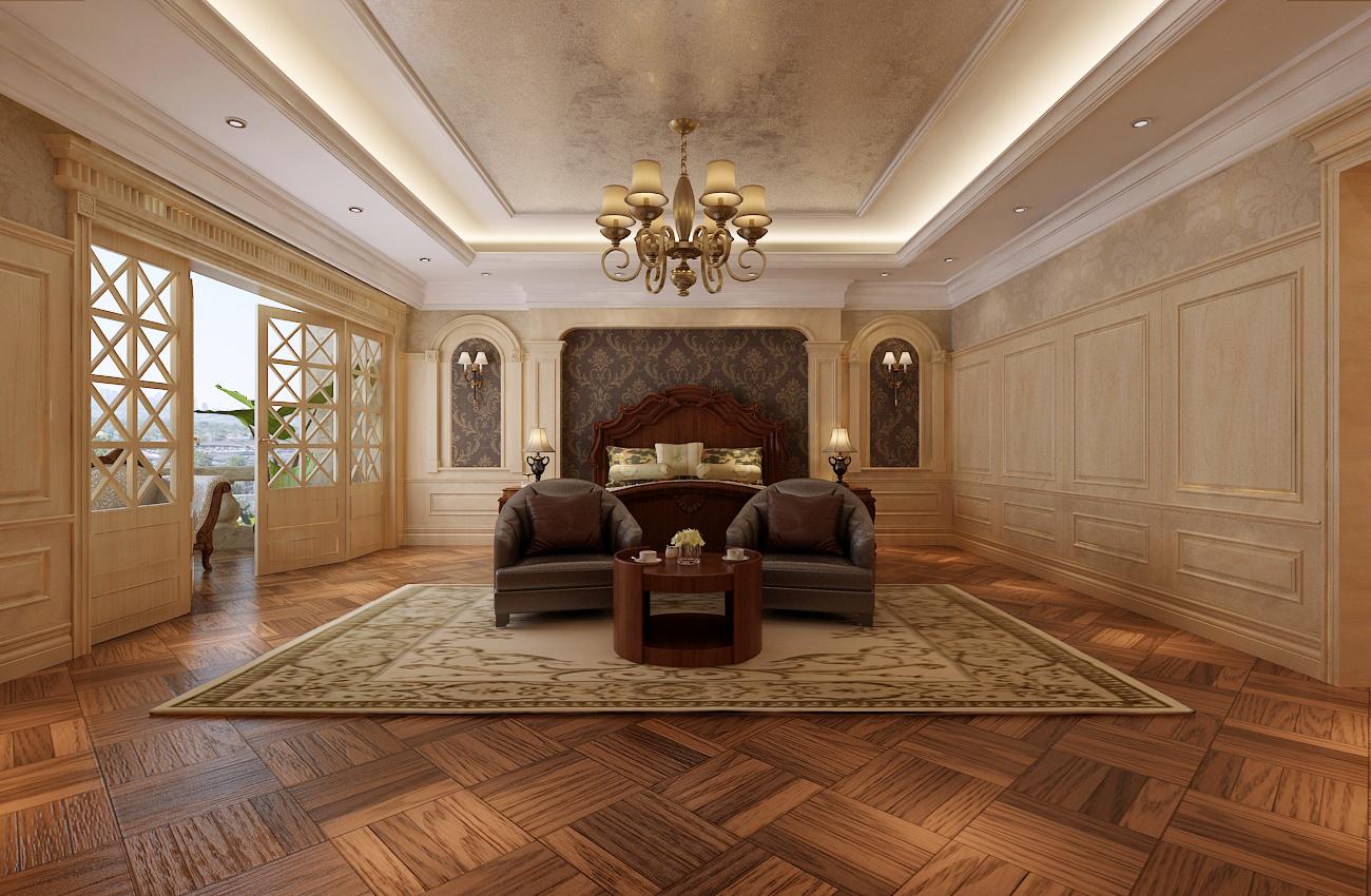实木,实木护墙板,石材,法式现代家具,古铜吊灯,进口壁纸.