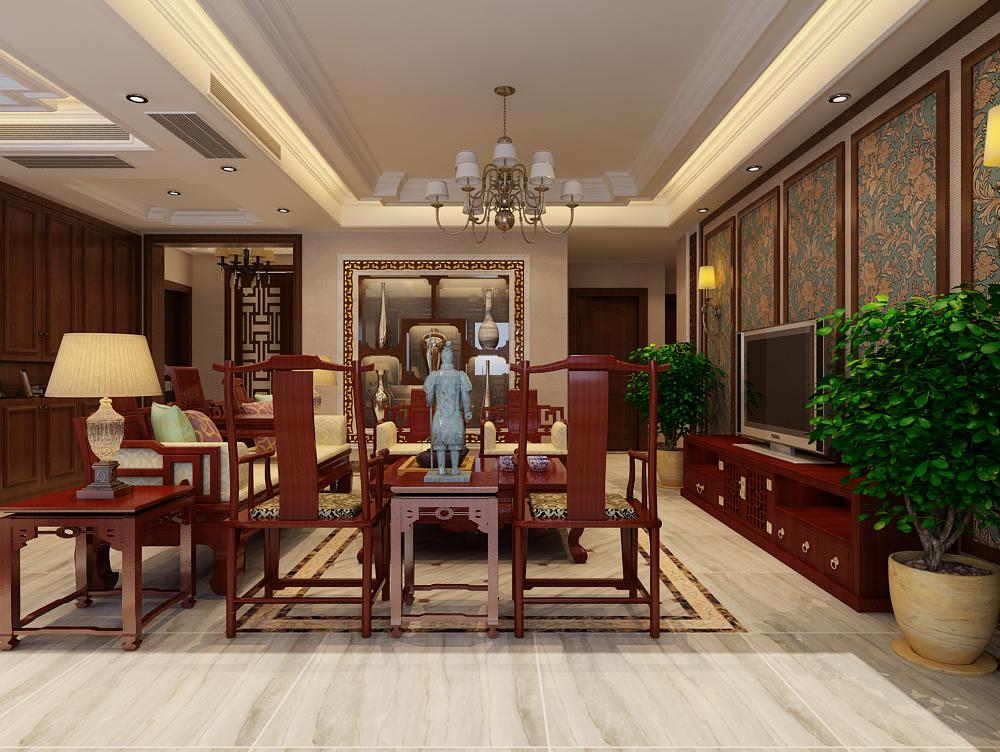 北京天山熙湖中西混搭三居室装修效果图_170平米7万-.图片