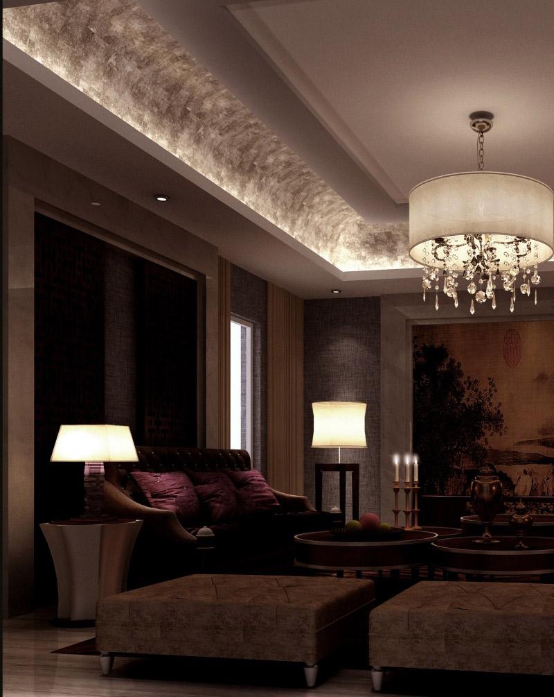 折中主义客厅吊顶灯带装修设计图片