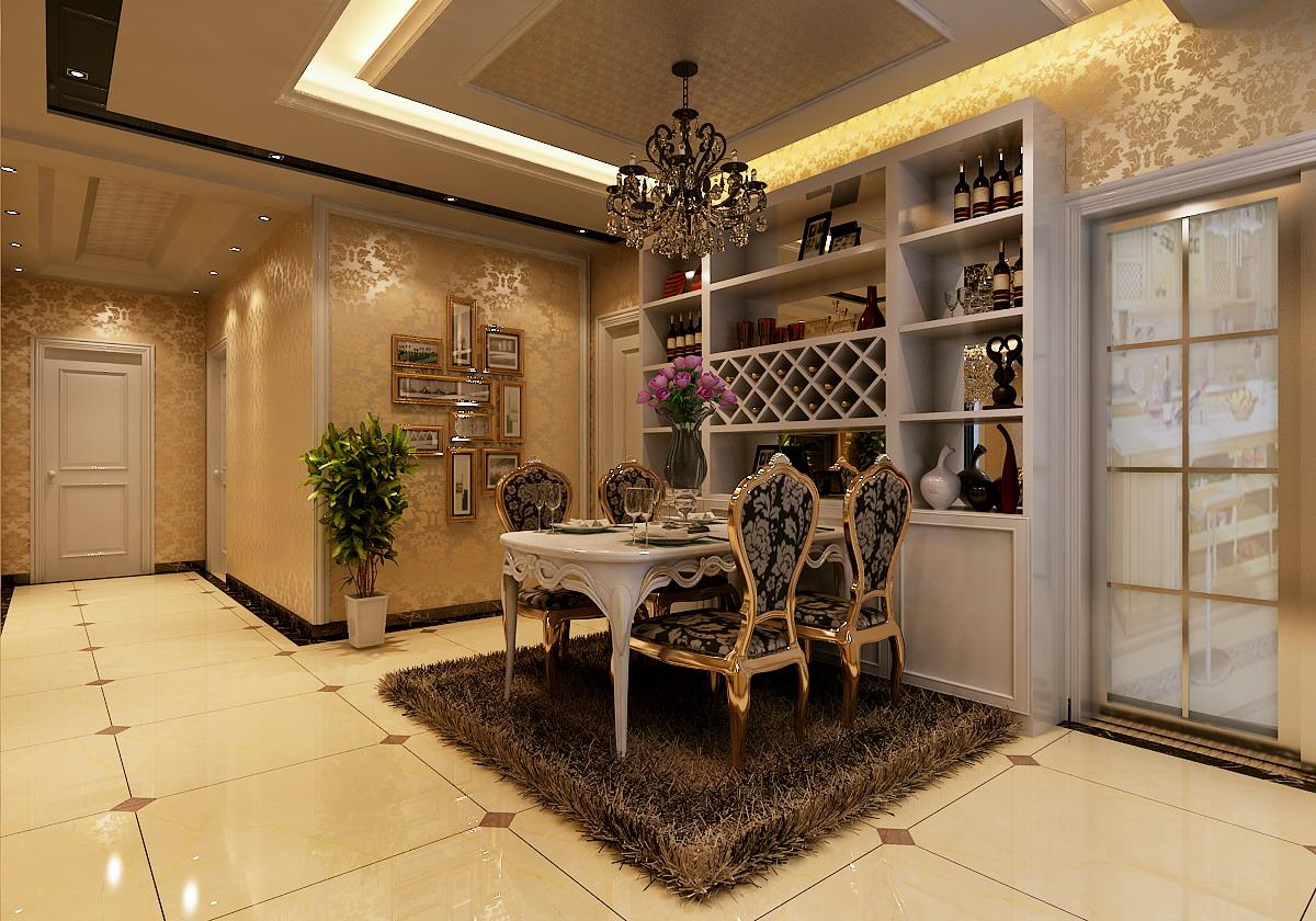 欧美风格室内装修_正商金域世家125平方欧美风格装修方案效果图