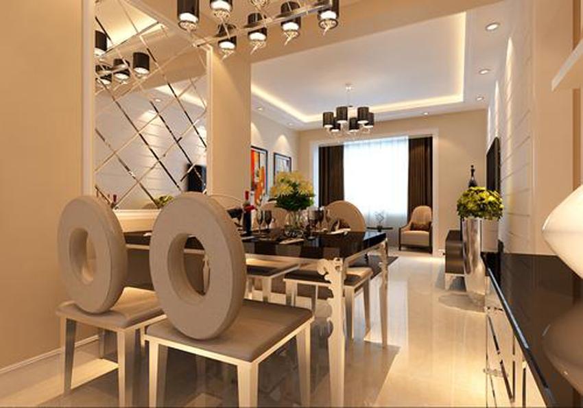 80平米-餐厅装修效果图-5大风格120㎡三室一厅案例 镜面装饰 玻璃隔高清图片