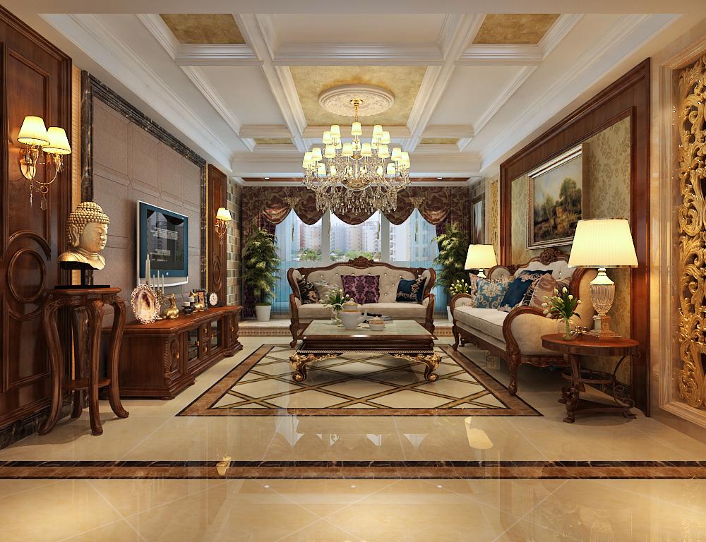 北京祥云国际欧式三居室装修效果图_150平米10万装修图片