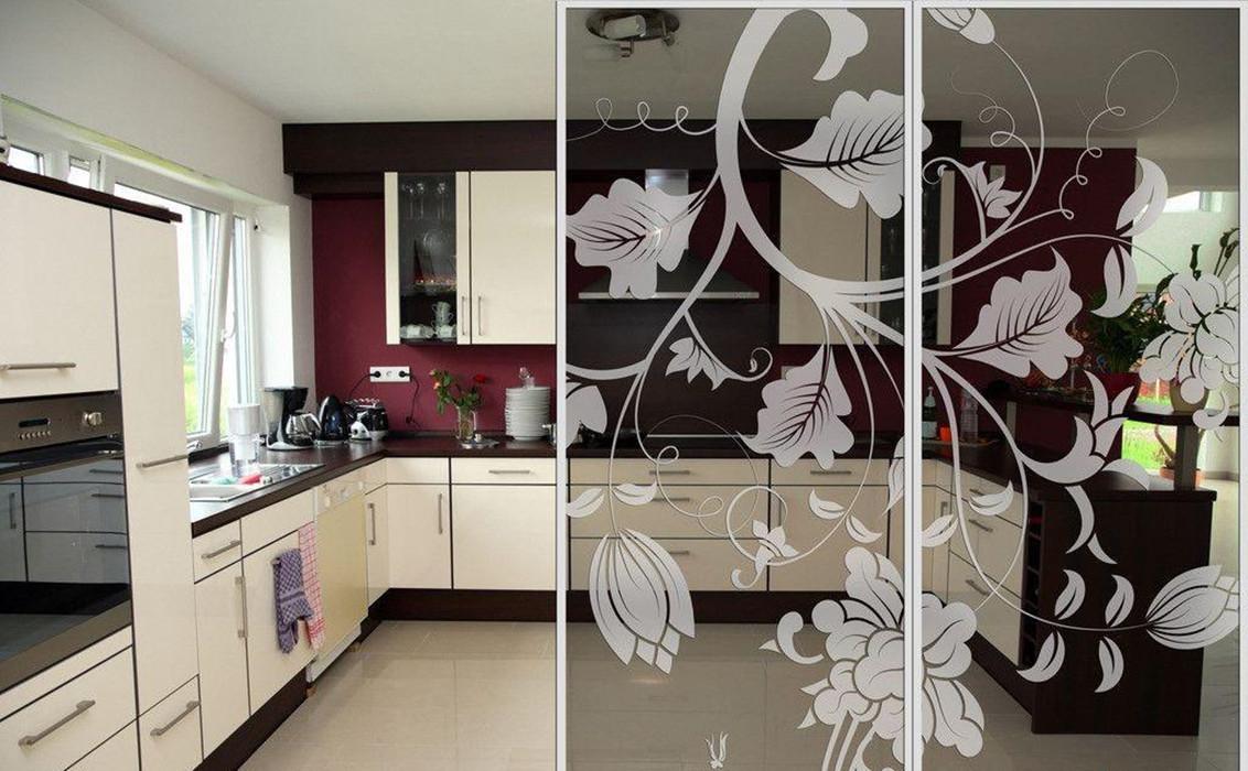 69平两居厨房玻璃门雕花隔断屏风装饰效果图图片