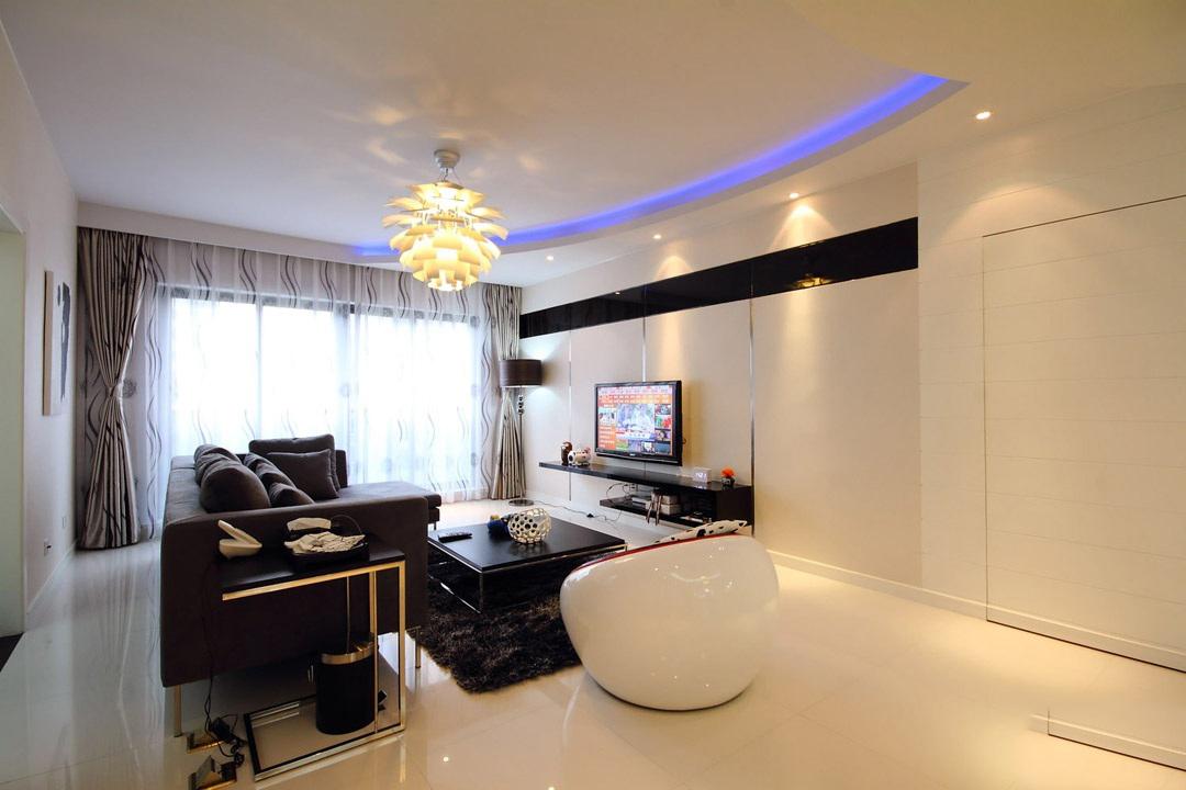 现代简约三居室客厅吊顶灯带装修效果图