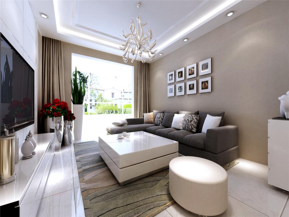 客厅整体选择暖色抛釉地砖,回字型吊顶,电视背景墙比较长所以采用三