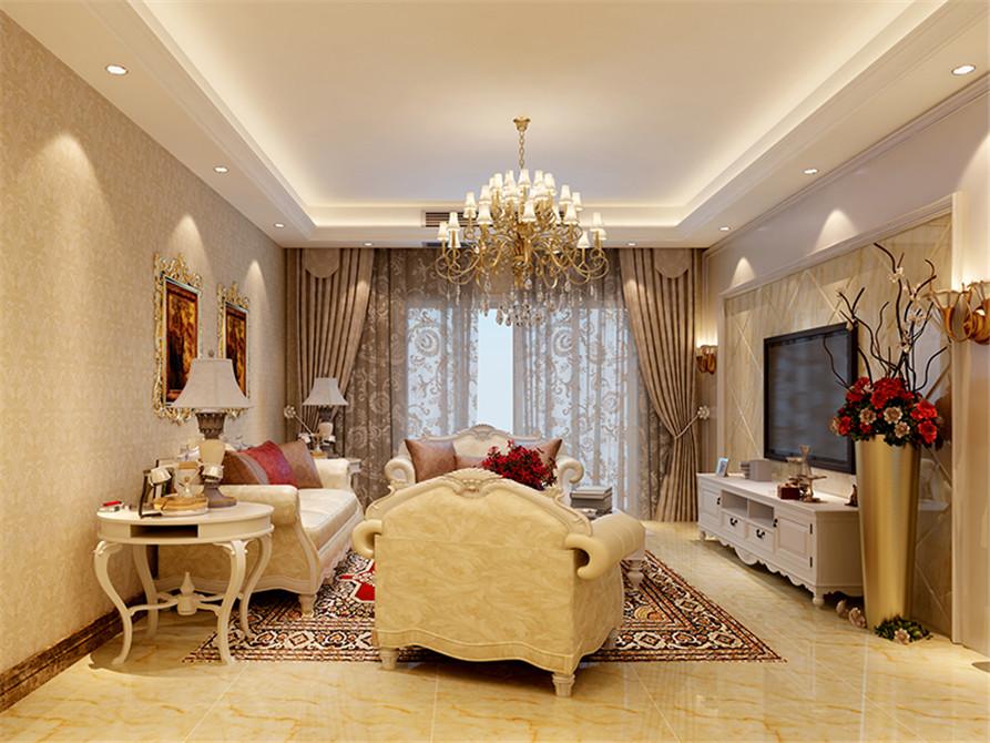 客厅墙纸设计效果图_简欧风格暖色系客厅壁纸装修效果图-房天下装修效果图