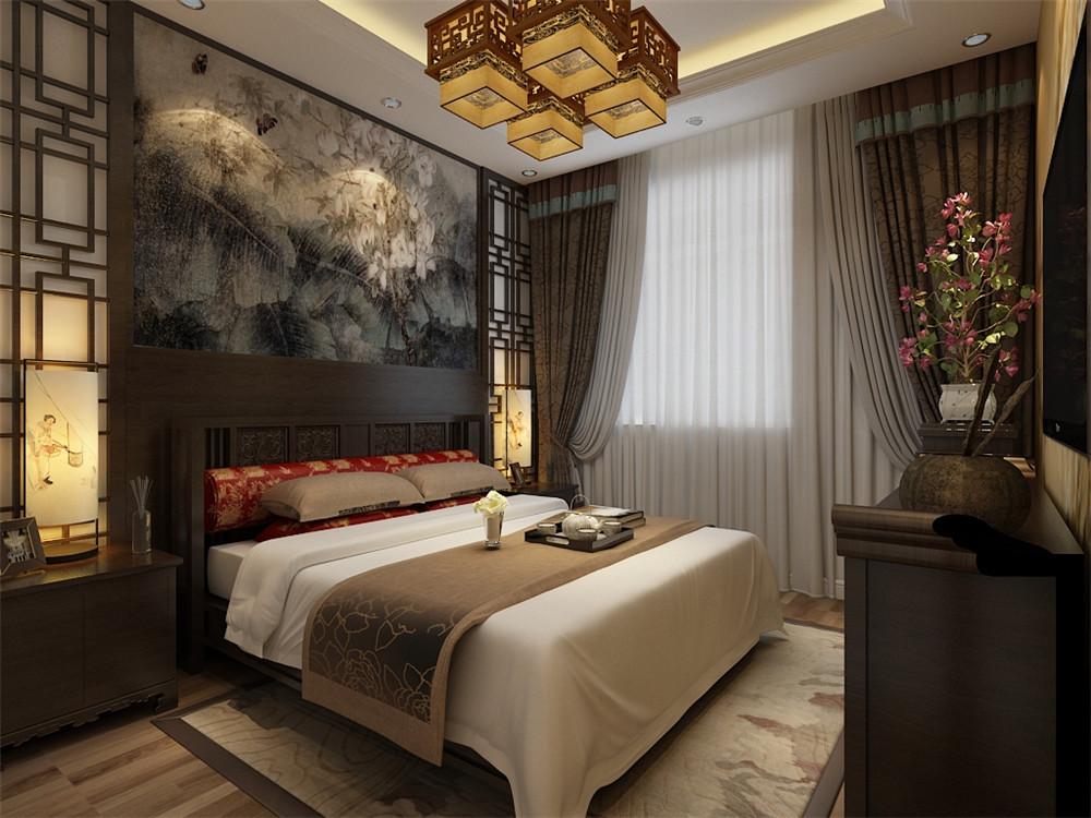 沙发背景墙采用的是十分浓烈的中国画,加上简单的中国风的壁灯,简单朴图片