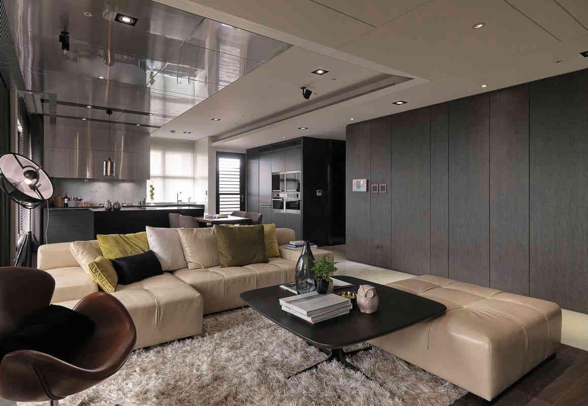 现代简约风三居室客厅吊顶装修效果图图片