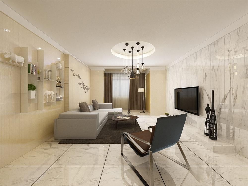 客厅电视背景墙用白色花纹瓷砖装饰,与正常墙面产生对比性,使空间严肃