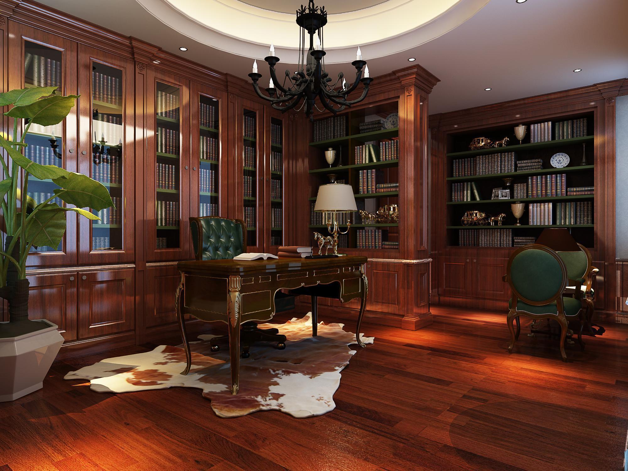霸气高档欧式风格玻璃书柜门效果图图片