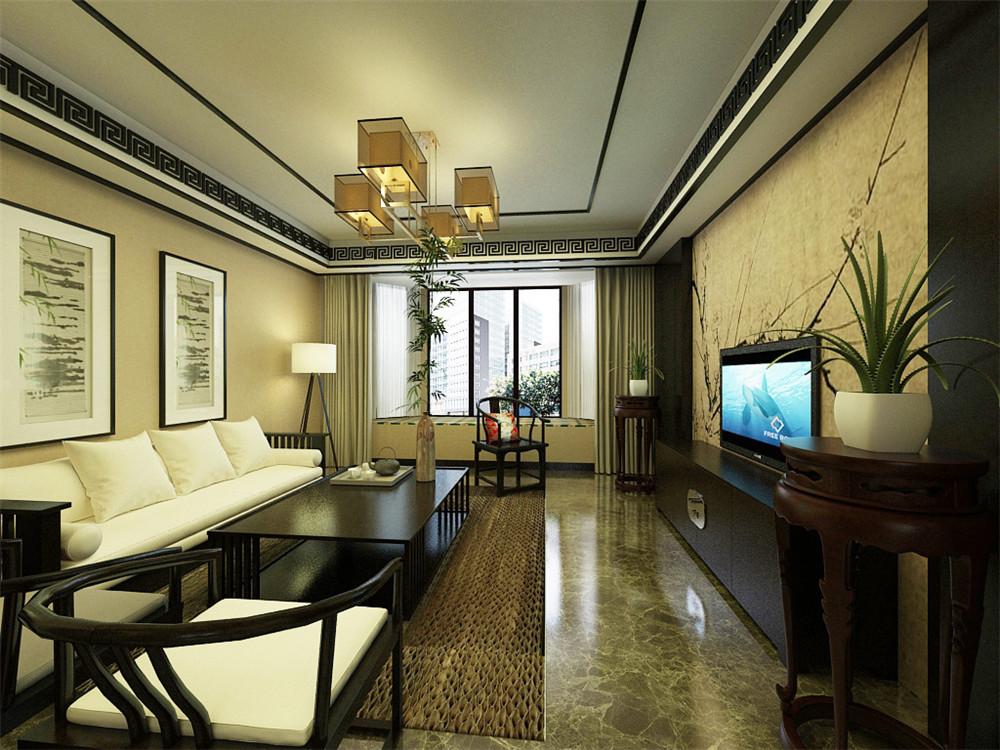电视背景墙的彩绘与屏风的相呼应且更富层次感,营造出弄弄的中式气息图片