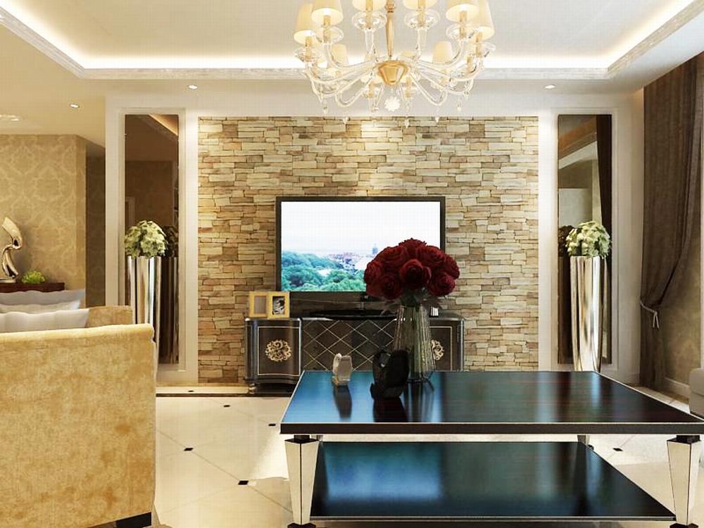 沙发背景墙没有做复杂造型而是挂了两张黑白挂画,电视背景墙做的稍微图片
