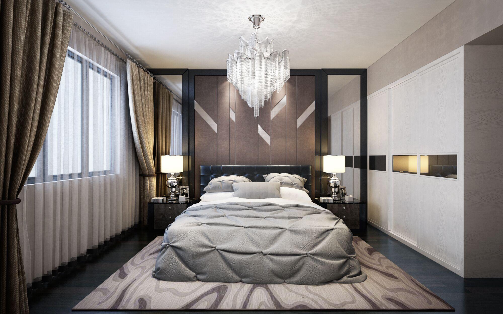 浅色棉质家居质感极强,为了避免乏味和视觉疲劳,衣柜中间的装饰板特意选择了一款可以反射阳光的金属质材料,更显得空间明亮。