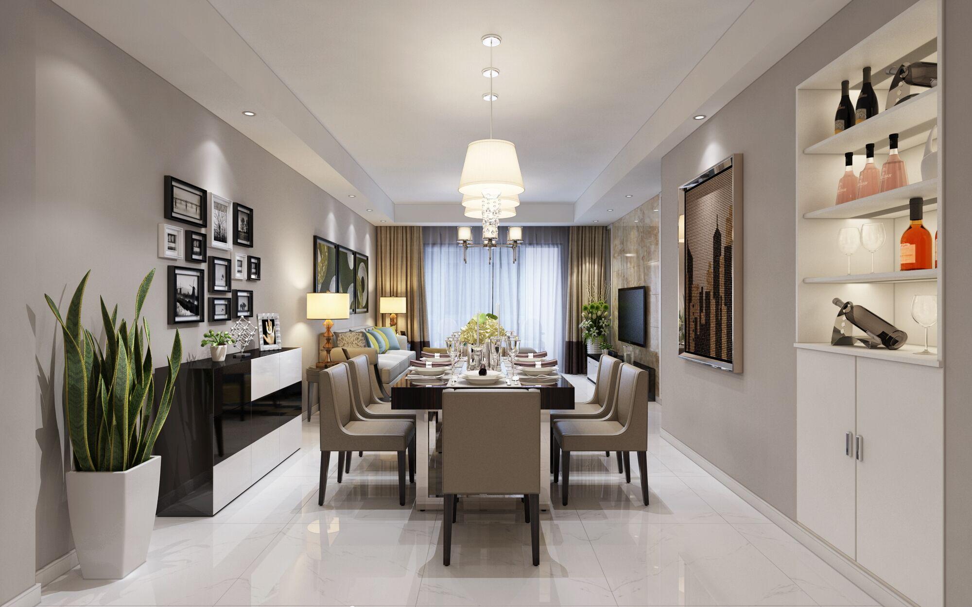 室内处处摆放着设计师精心搭配陈列品,如家具、灯饰和挂画等各种精致的物件,这些物件和现代简约的设计在恰当的空间邂逅,让简约设计蕴涵着深深的文化印记,让空间焕发活力。