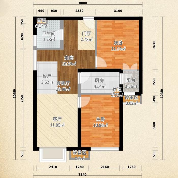 东洲家园-二居室-90.00平米-户型图装修效果图