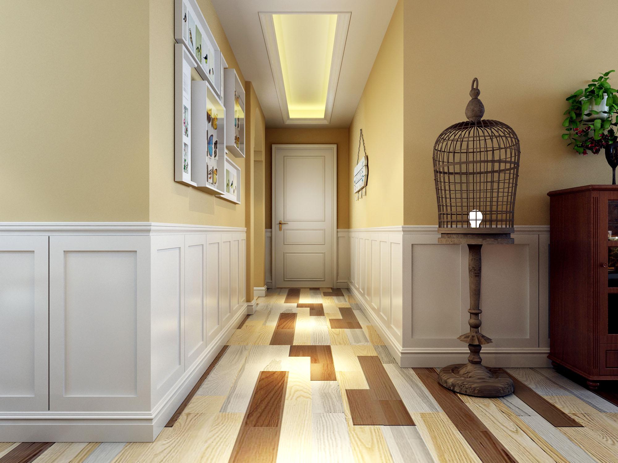 地面用的彩拼木地板,墙面用白色木饰面护墙,沙发背景墙瓷砖拼花,墙面
