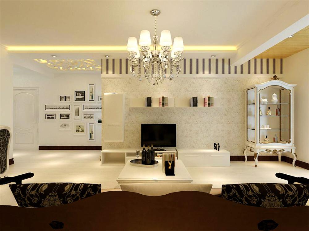 客厅中只带明显的区域划分,所以本案多采取简单的吊棚来修饰过梁