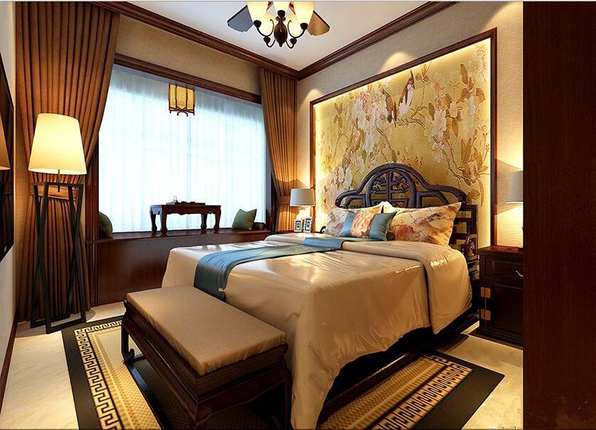 卧室主要是床头背景墙设计造型雕刻石膏板相结合壁画做底称中式韵味