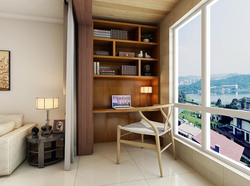 内包的阳台设计为书房,不仅方便了业主的读书工作还可以在休息之余图片
