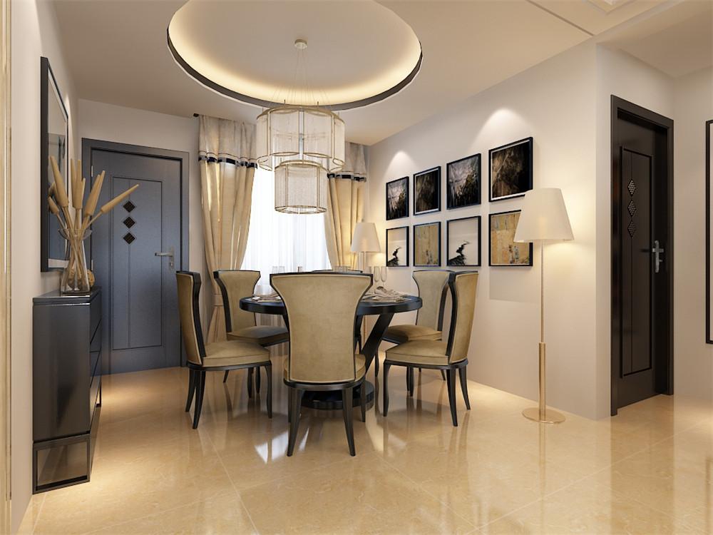 餐厅墙面主要以装饰画为主,棚面以圆形设计手法出发与餐桌的圆形混为