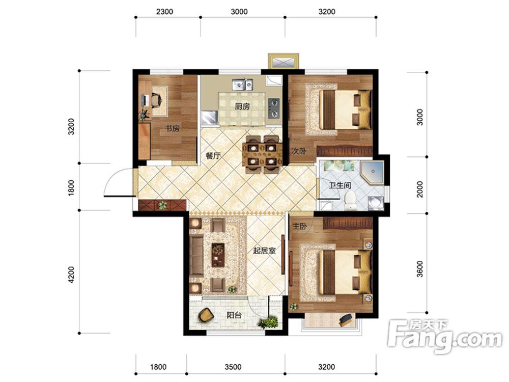 三室两厅一厨一卫户型图