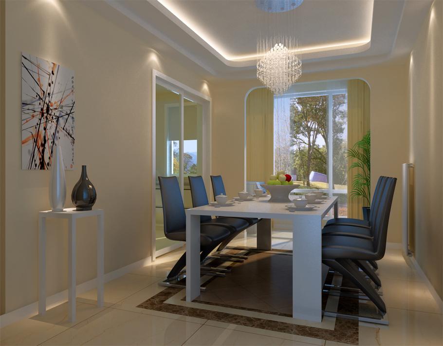 餐厅也没有复杂的设计,依托现有空间摆放餐桌。不浪费一点点空间。弧形灯池吊顶。简单而不失品味。给人一种自然放松的感觉,暖暖的灯光给人以其乐融融的就餐氛围。