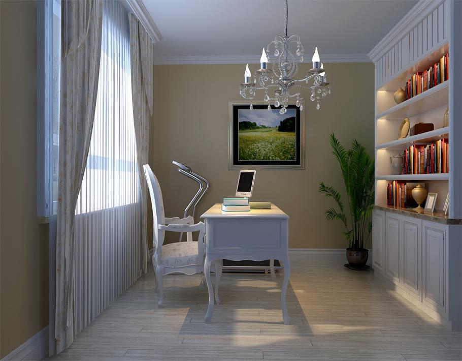 书房选择以浅色作为主要色调,淡灰色的实木复合地板,同时浅色系的窗帘和低调的墙漆都是和谐相呼应,色彩不会显得太单调。护墙板造型的书柜及皮革简单的灯具更清晰的表达了主次之分及主人气质。