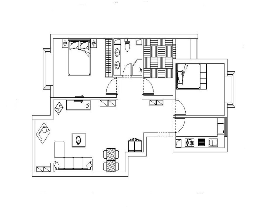 1. 入户门处鞋柜的位置太小,只能做展示玄关的鞋柜。 2. 厨房没有冰箱的位置,放在客厅正好可以放一个双开门冰箱。 3. 没有洗衣机的空间,不能再挤卫生间的位置了,放在厨房橱柜下面。