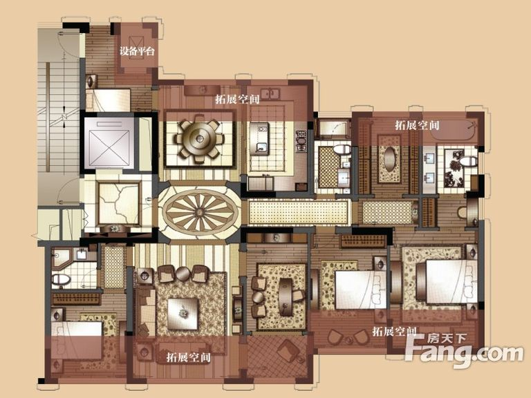 设计理念:根据跟业主的沟通了解,本案定位为美式风格。业主最苦恼的就是餐厅没有私密性,本案通过两个弧形的哑口,很好的划分了走廊,餐厅,客厅,使空间更有迂回感。本案整体运用了绿色的门和护墙板以及淡黄色系的做旧壁纸。家具选用的还是以舒适为主,没有选用传统美式的家具,整体搭配更随意一些。?