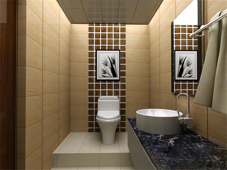 简单的瓷砖只有简单的组合。大的洗手台可以放很多洗漱是需要的东西。