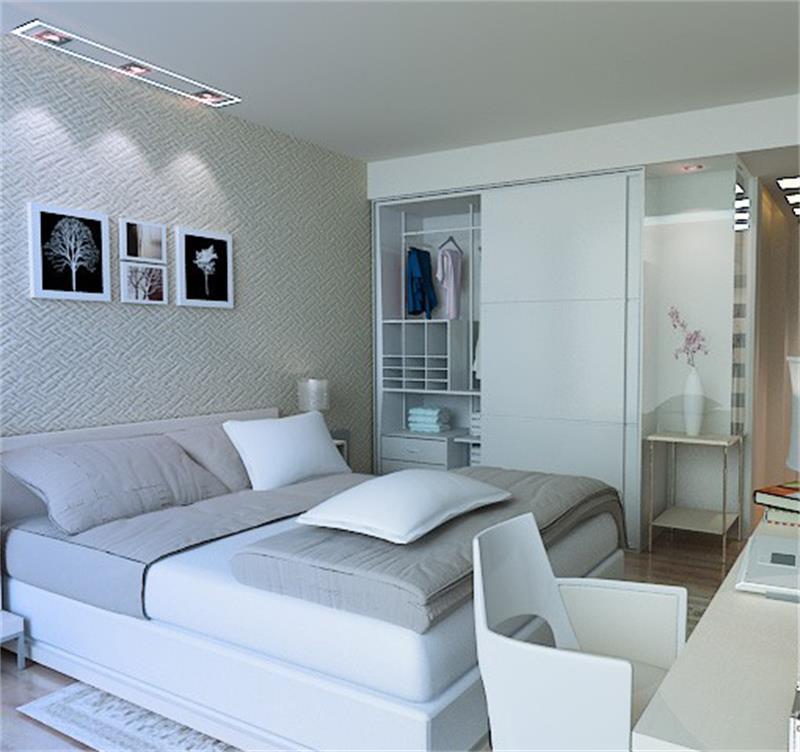 白色的墙面白色的衣柜白色的书桌,显得卧室非常干净整洁。