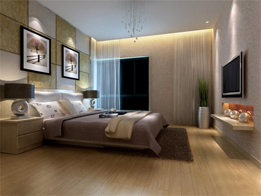 在卧室里放电视一定要卧室长度够为了节省空间并没有放电视柜而是一个嵌入式的台面。