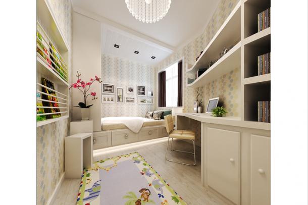 这款儿童房设计的非常温馨漂亮,特别时候我们的小公主居住,舒适而甜美,让人一进去就留念忘返