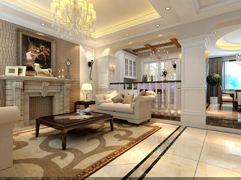 设计师把客户用一个美式壁炉的设计,突出了背景墙的特点。