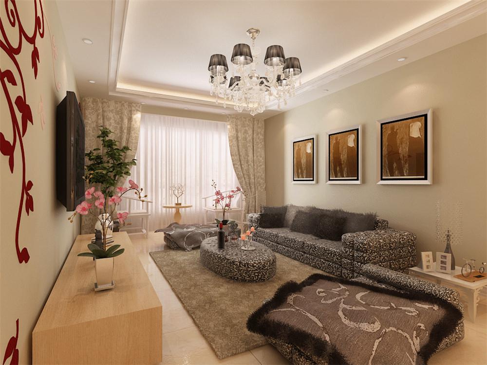 现代简约三居室102平米4.3万_国耀上河城装修案例-房