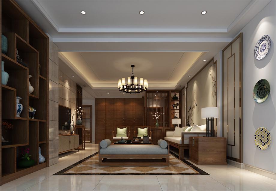 南昌梵顿公馆新中式风格三居室装修效果图_137平米10图片