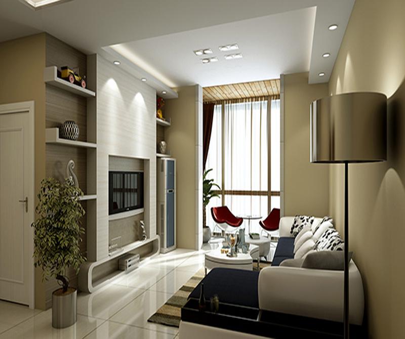 楼下客厅的电视背景墙中间墙体凸出,两侧设置置物架,柜式空调也能与图片