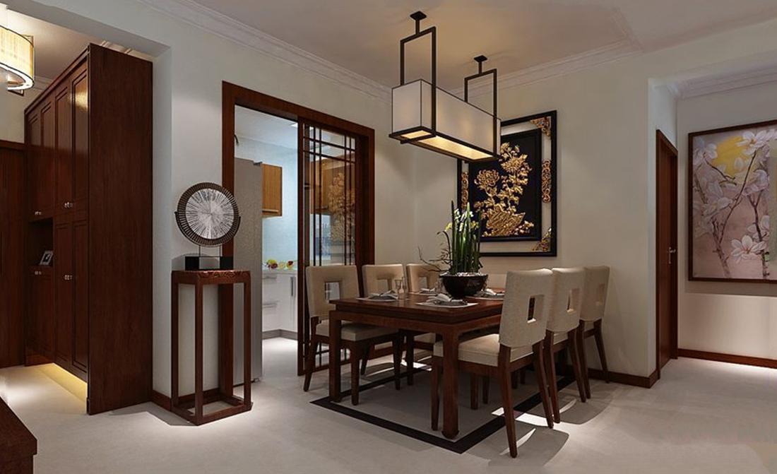 北京普吉新区中式风格三居室装修效果图_132平米12万图片