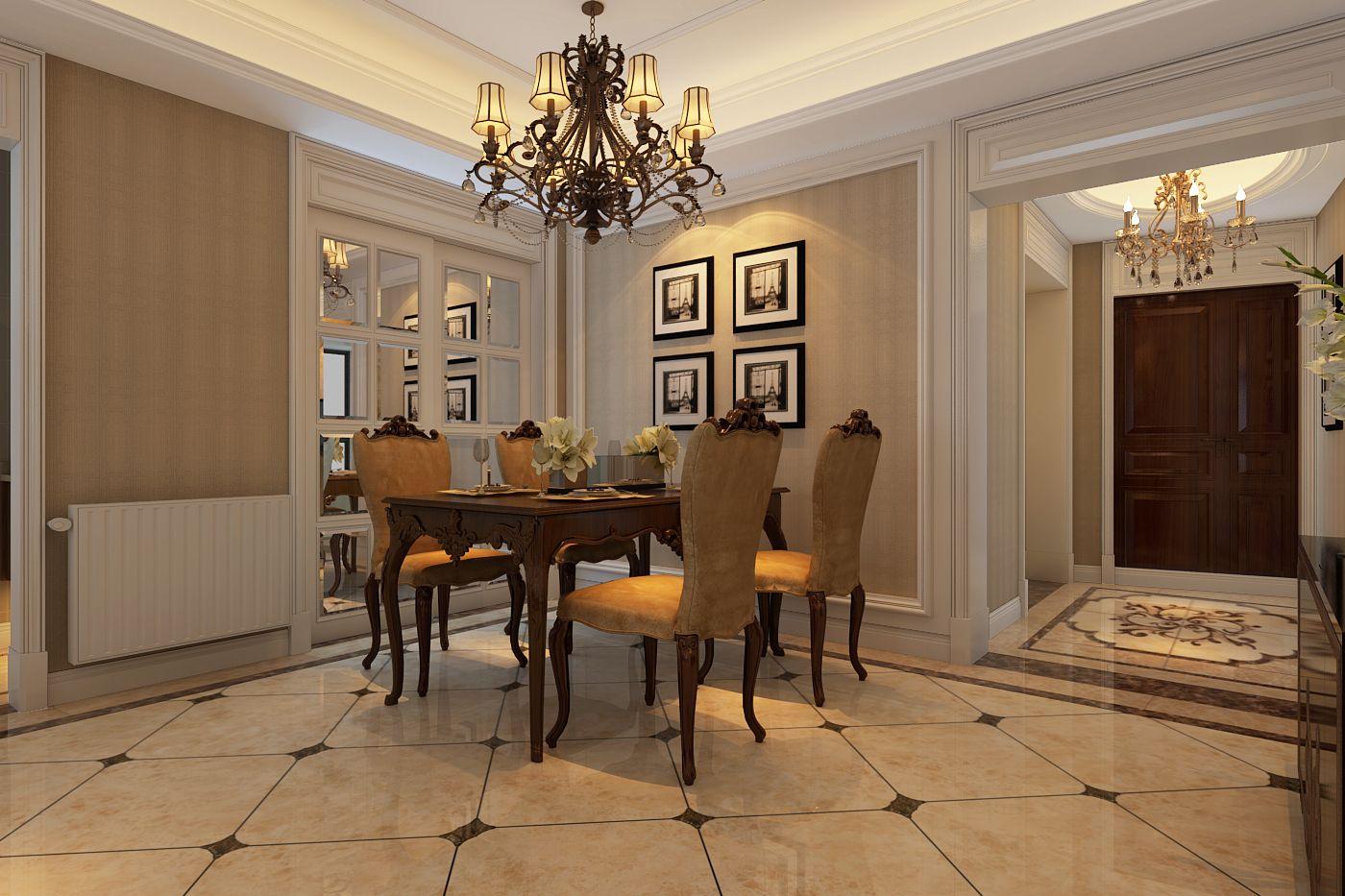 半包5万装修现代简欧风格120平米三居室图片
