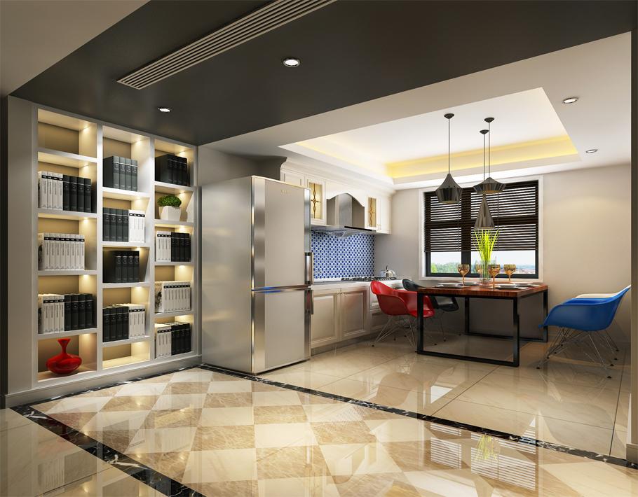 敞开式厨房设计,简单大方。