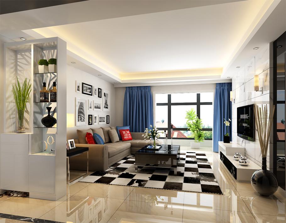 客厅以黑白为主色调。