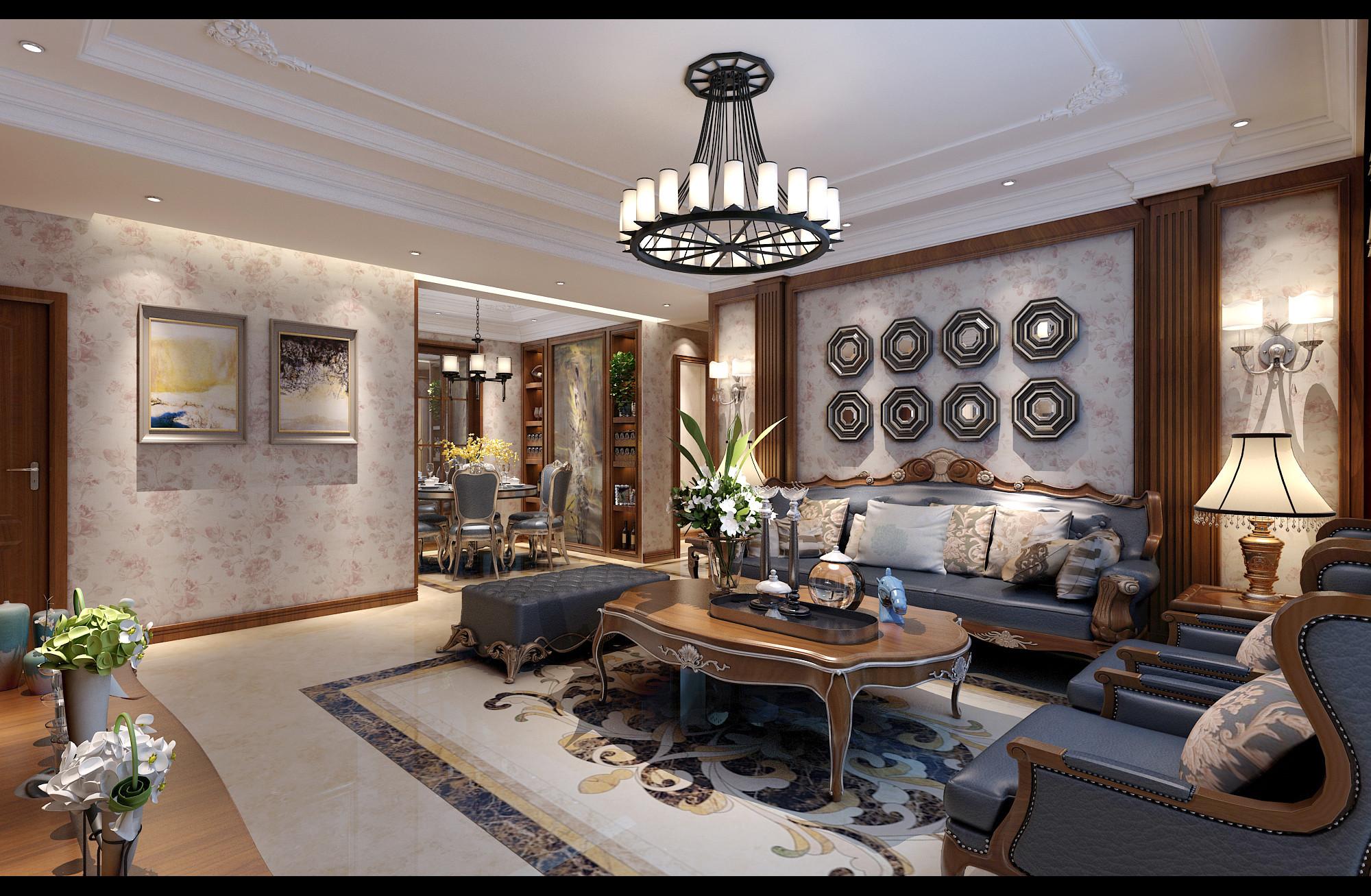 西城一品136平三室两厅欧式风格客厅沙发背景墙装修设计效果图